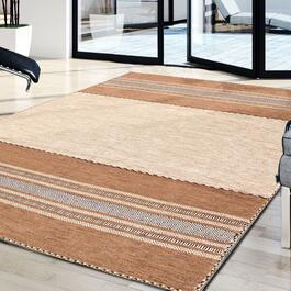 eCarpet Gallery Hand-Woven Bold and Colorful I Tan Wool Kilim Rug