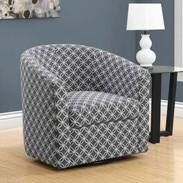 Monarch Specialties Swivel Accent Chair in Grey Circular Fabric