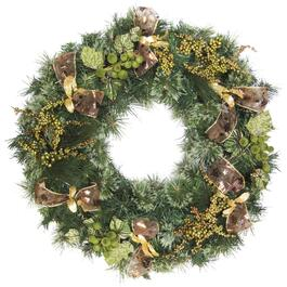 Henryka Wreath with Green Berries and Golden Ornaments - 30in.
