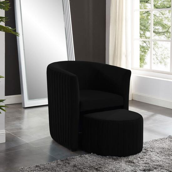 Relax Barrel Black Chair with Foot Stool