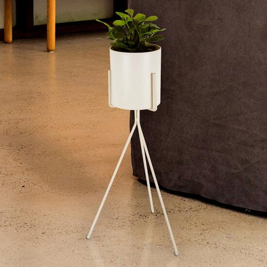 Truu Design White Floor Planter with Tripod Stand - 26in.