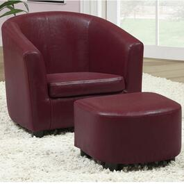 Monarch Specialties Red Juvenile Chair and Ottoman Set - 2pc.