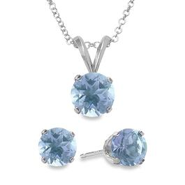 Signature Elite Aquamarine Pendant Necklace and Earring Set