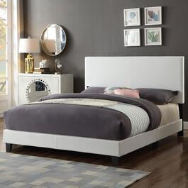 Titus Contemporary Upholstered White Platform Bed