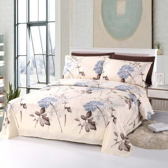 Bamboo Living Blue Chrysanthemum Queen Sheet Set - 6pc.
