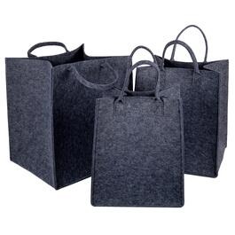 Truu Design Dark Grey Felt Storage Tote Baskets - 3pc.