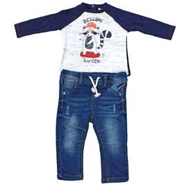 Lily and Jack Boys Rolling Racoon Grey Shirt and Jean Set 2pc. - 3-18M