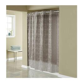 Hookless Puzzle Square Shower Curtain with PEVA Liner - Smoke