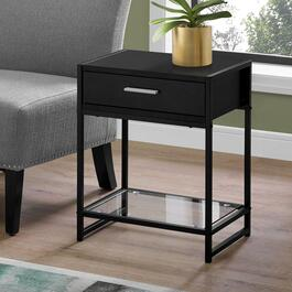 Monarch Specialties 22 in. Accent Table - Black Metal with Tempered Glass