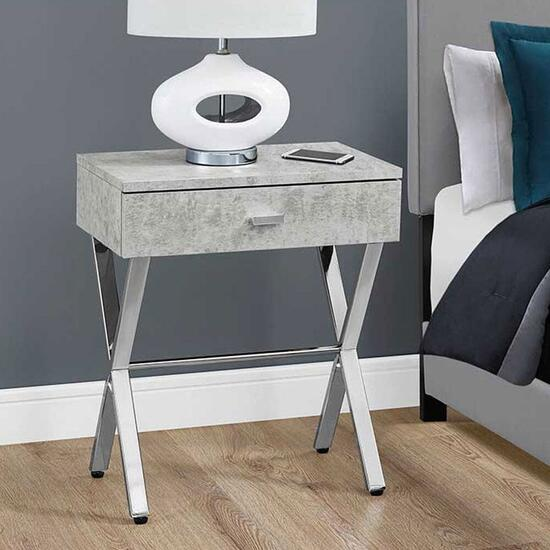 Monarch Specialties Grey Cement Accent Table