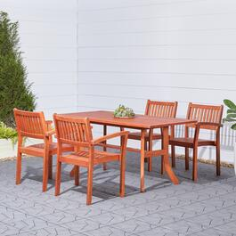 Vifah Malibu Outdoor Patio Dining Set with Stacking Chairs - 5pc.