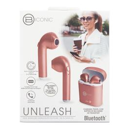 Biconic Unleash Rose Gold Wireless Bluetooth Earbuds with Charging Case