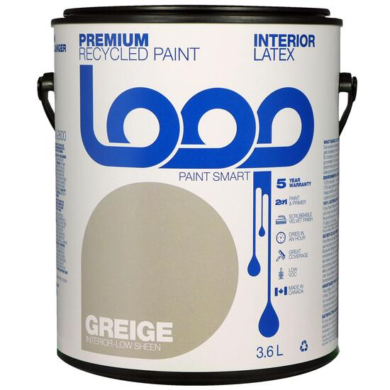 Loop Greige Interior Latex Premium Recycled Paint - 3.8L