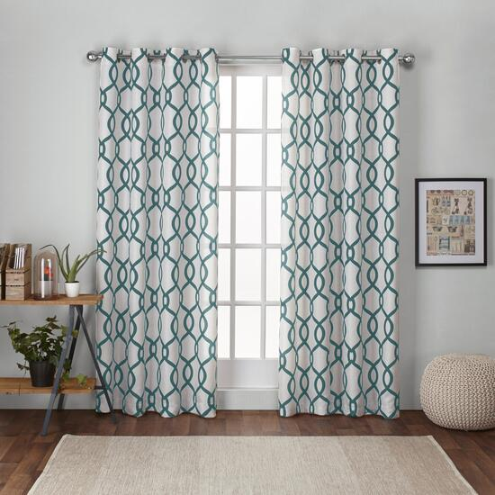 Exclusive Home Kochi Teal Grommet Top Curtains - 108in.