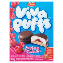 Viva Puffs Raspberry Chocolate Covered Marshmallow Cookies - 300g