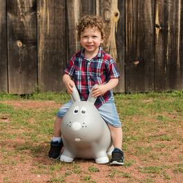 Farm Hoppers Inflatable Rabbit Bouncer - Grey