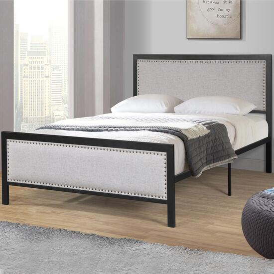 Titus Contemporary Metal Frame Platform Bed With Upholstered Headboard