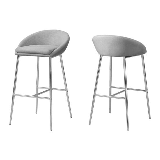 Monarch Specialties Chrome Grey Fabric Barstools - 2pc.