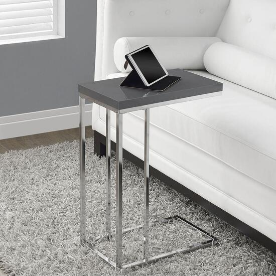 Monarch Specialties Inc. Chrome Accent/Tray Table - Glossy Grey Top