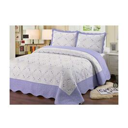 Beauty Sleep Bedding Embroidered Purple Quilt Set - King