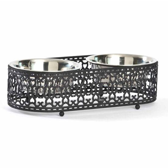 Barkley & Evans Valencia Laser Cut Metal Double Pet Feeder