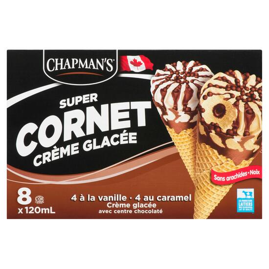 Chapman's Vanilla Caramel Ice Cream Super Cones 8pk. - 120ml