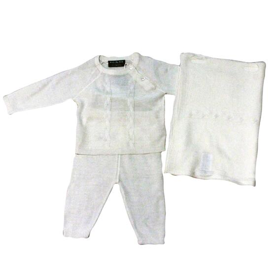 Rock a Bye Baby Boutique Unisex Cream Knitted Set 3pc. - 0-9M