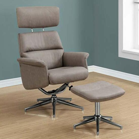 Monarch Specialties Taupe Swivel Recliner - 2pc.