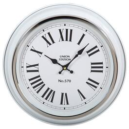 Truu Design White Round Vintage Wall Clock - 13.5in.