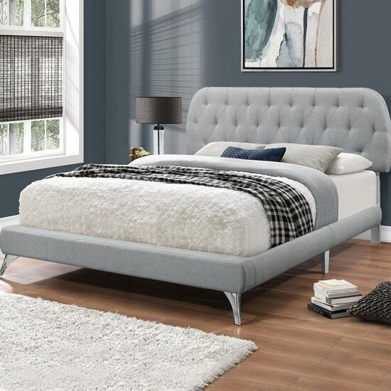 Monarch Specialities Queen Linen Look Bed Frame with Chrome Legs
