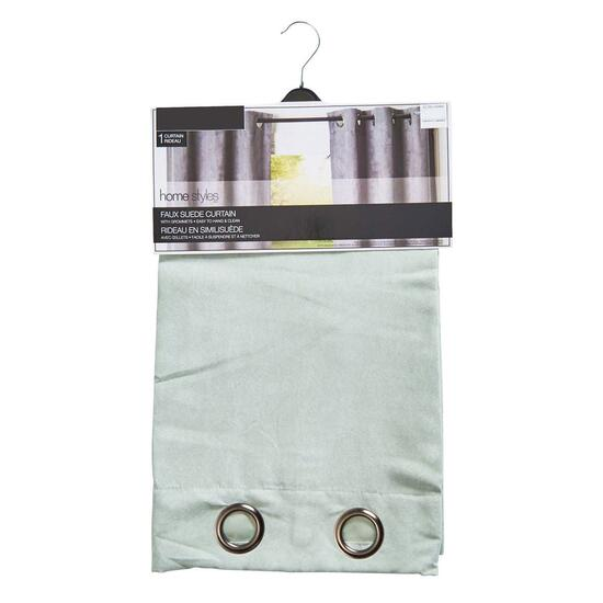 HomeStyles Light Green Faux Suede Curtain Panel - 96in.