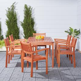 Vifah Malibu Outdoor Patio Dining Set with Stacking Chairs - 7pc.
