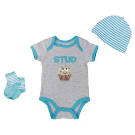 Baby Mode Signature Boys Stud Muffin Set 3pc. - 0-9M