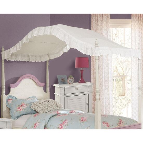 Rainha Eyelet White Twin Bed Canopy - 78in.