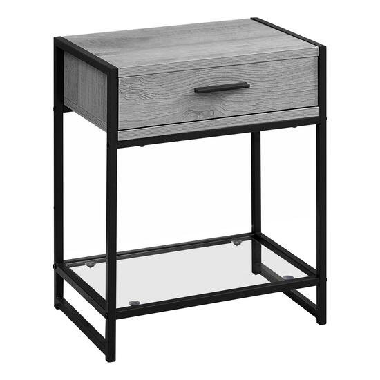 Monarch Specialties 22 in. Accent Table - Grey and Black Metal with Tempered Glass