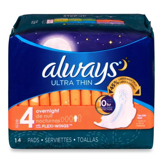 Always Ultra Thin Overnight with Wings, Unscented Pads - 14pk.