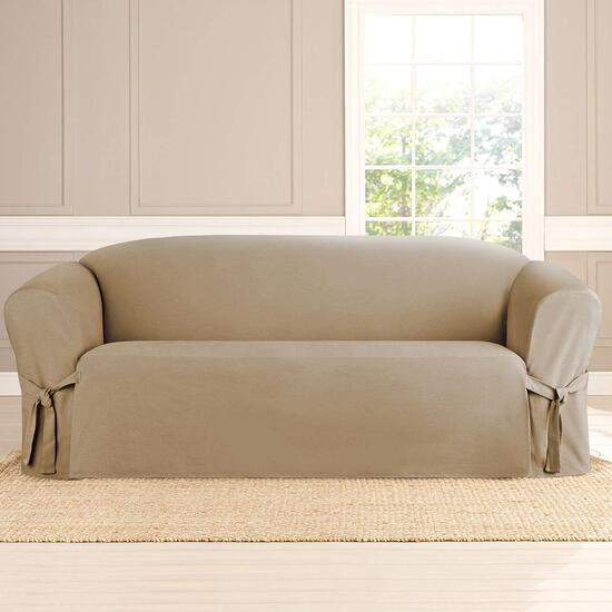 surefit Heavyweight Cotton Slipcover for Sofa in Khaki