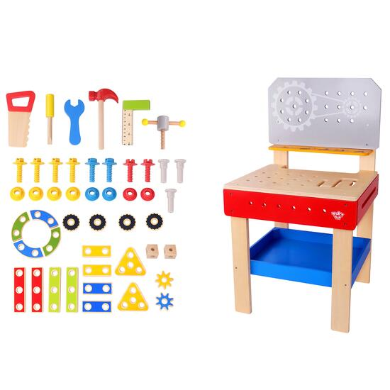 Tooky Toy Wooden Work Bench - 48pc.