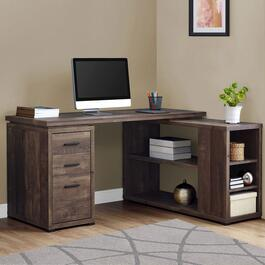 Monarch Specialties Brown Reclaimed Wood Corner Computer Desk