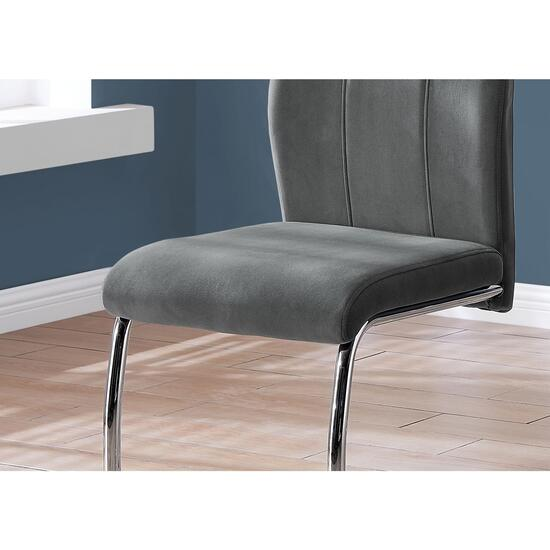 Monarch Specialties Dark Grey Velvet/Chrome Dining Chair - 2pc.