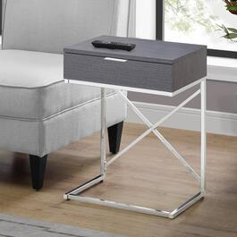 Monarch Specialties 24 in. Accent Table - Grey and Chrome Metal