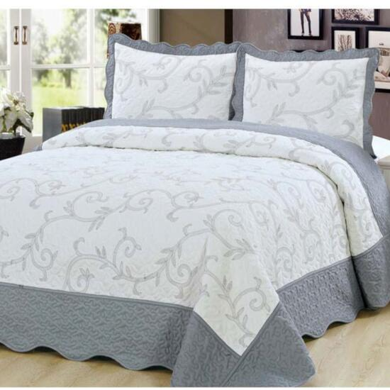 Beauty Sleep Bedding Embroidered Silver Quilt Set - Twin