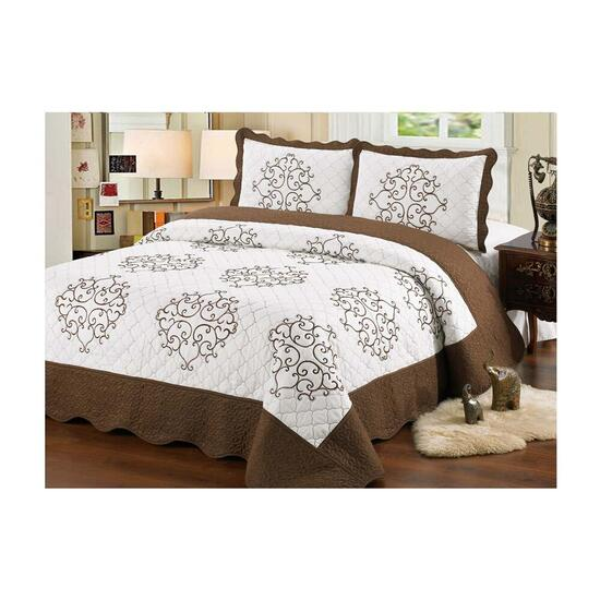 Beauty Sleep Bedding Embroidered Brown Quilt Set - Queen