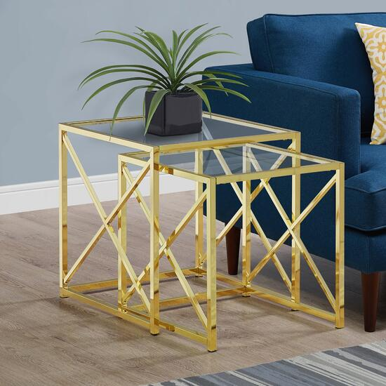 Monarch Specialties Gold Metal Tempered Glass Nesting Table 2pk. - 20in. x 20in.