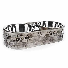 Barkley & Evans Paws Antique Silver Laser Cut Metal Double Pet Feeder