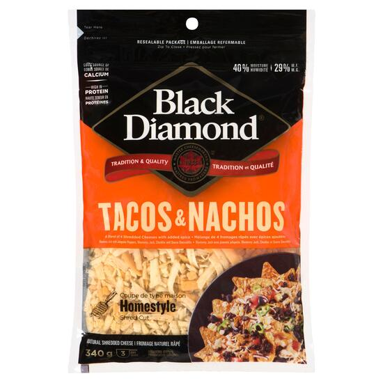 Black Diamond Natural Tacos and Nachos Shredded Cheese - 340g