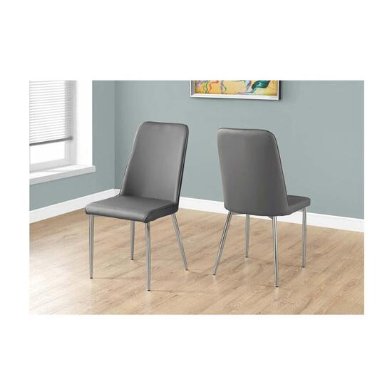Monarch Specialties Grey Faux Leather Dining Chairs - 2pc
