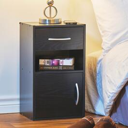 HomeStyles Black Night Stand with Drawer