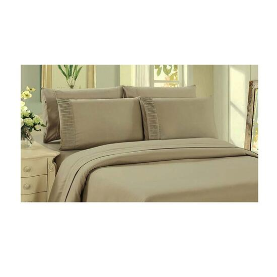 Bamboo Living Eco Friendly Egyptian Comfort 6 Piece Sheet Set - Queen - Taupe