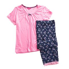 Carisma Women's Plus Lace Trim Capri PJ Set 2pc. - 1X-3X